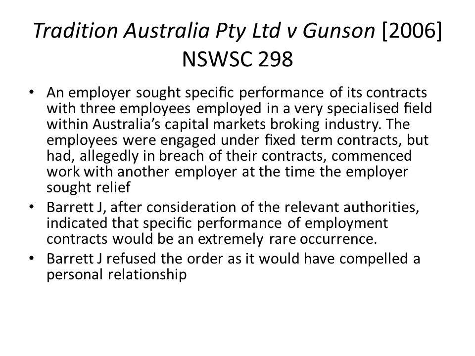 Tradition Australia Pty Ltd v Gunson [2006] NSWSC 298